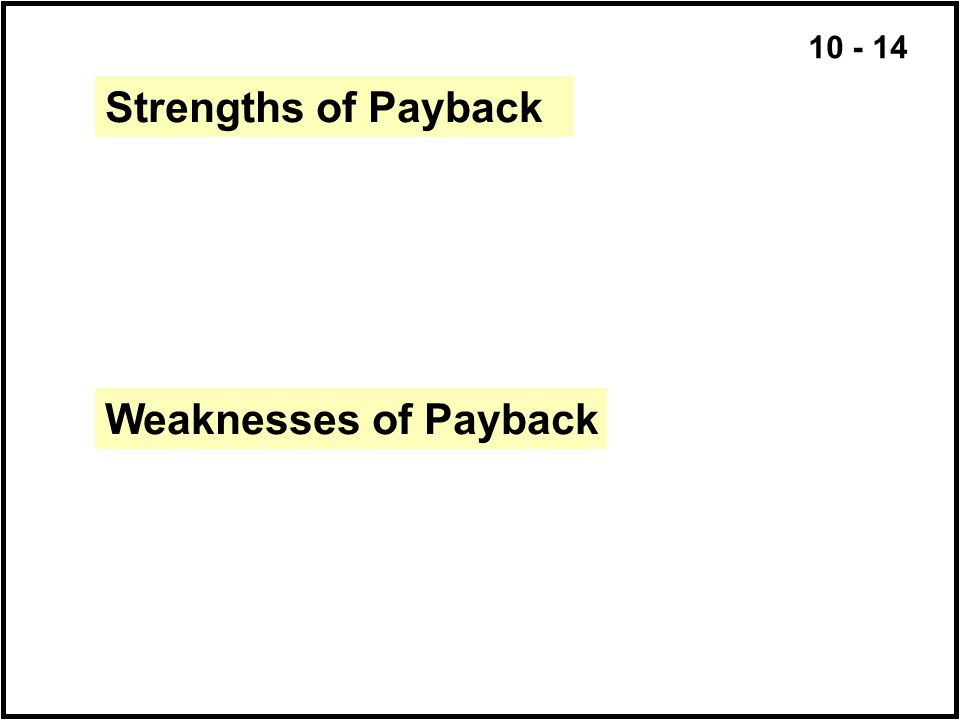 Strengths of Payback Weaknesses of Payback