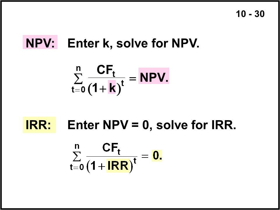   NPV: Enter k, solve for NPV. CF k NPV   1 .