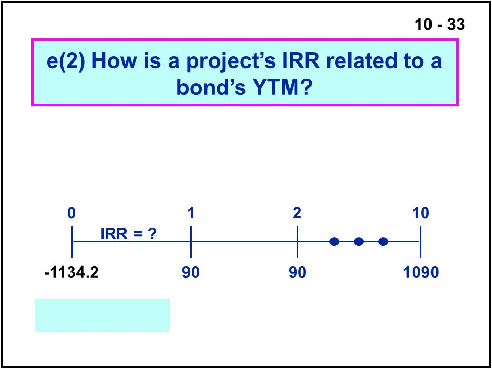 e(2) How is a project's IRR related to a bond's YTM