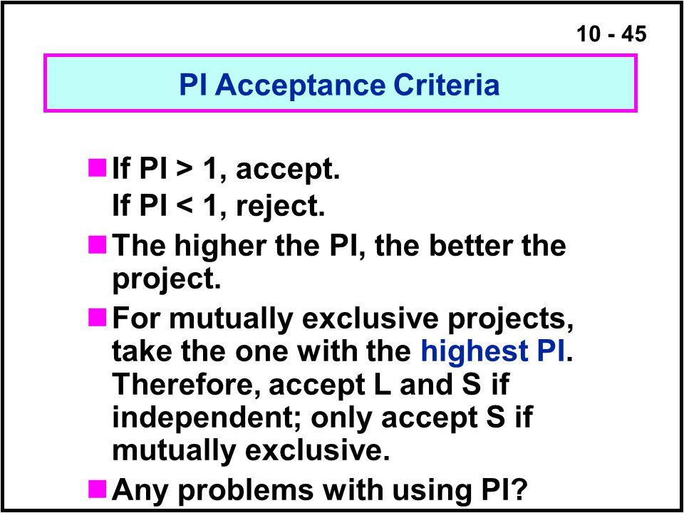 PI Acceptance Criteria