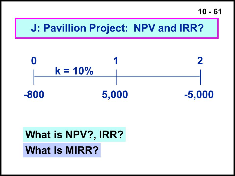 J: Pavillion Project: NPV and IRR