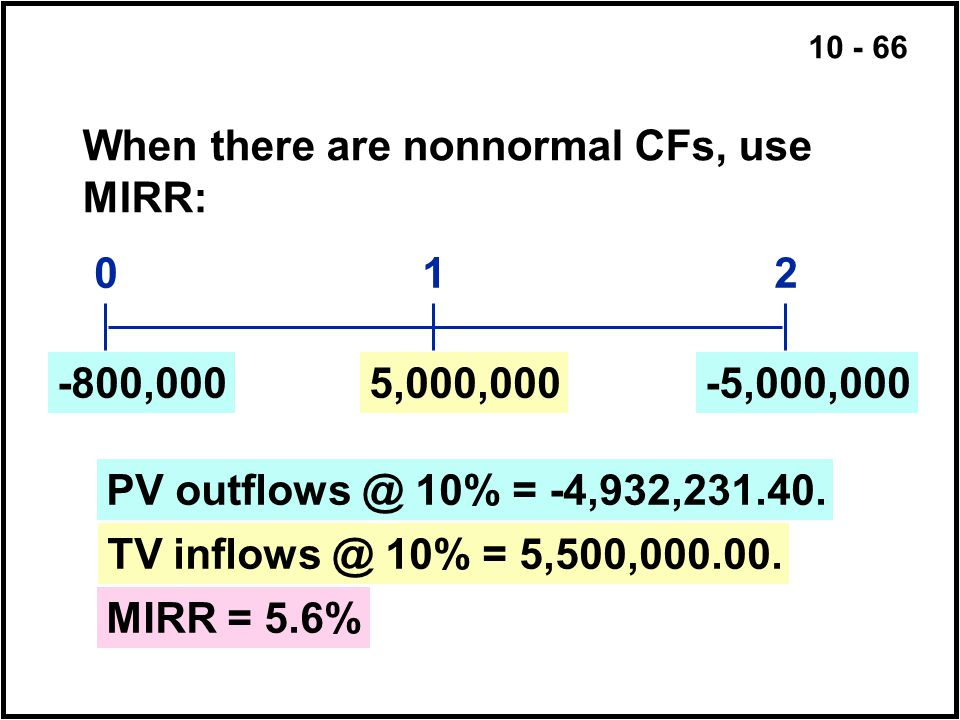 When there are nonnormal CFs, use MIRR: