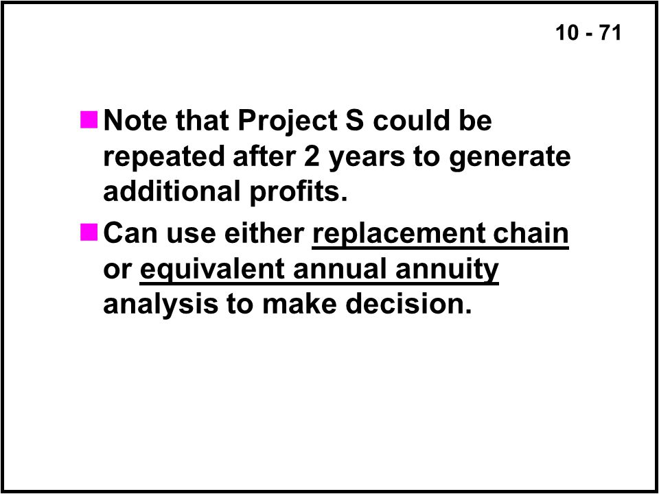 Note that Project S could be repeated after 2 years to generate additional profits.