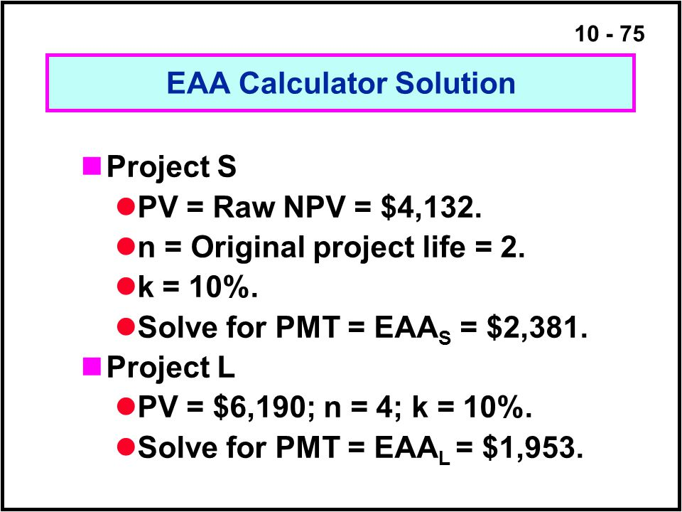 EAA Calculator Solution