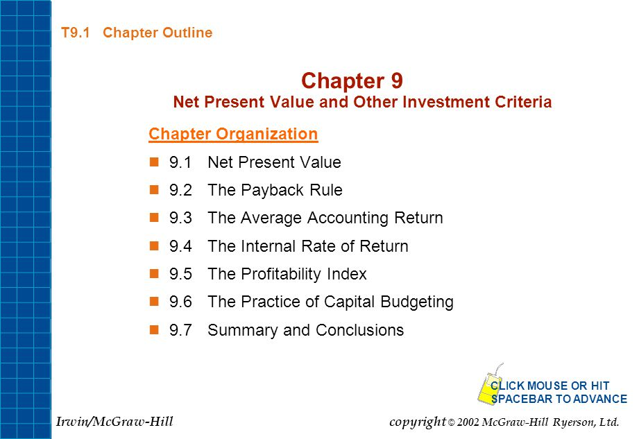 Chapter 9 Net Present Value and Other Investment Criteria