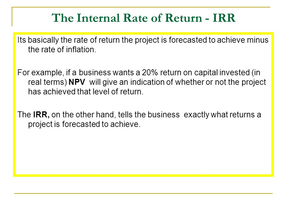 The Internal Rate of Return - IRR