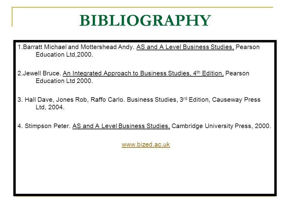BIBLIOGRAPHY 1.Barratt Michael and Mottershead Andy. AS and A Level Business Studies, Pearson Education Ltd,2000.