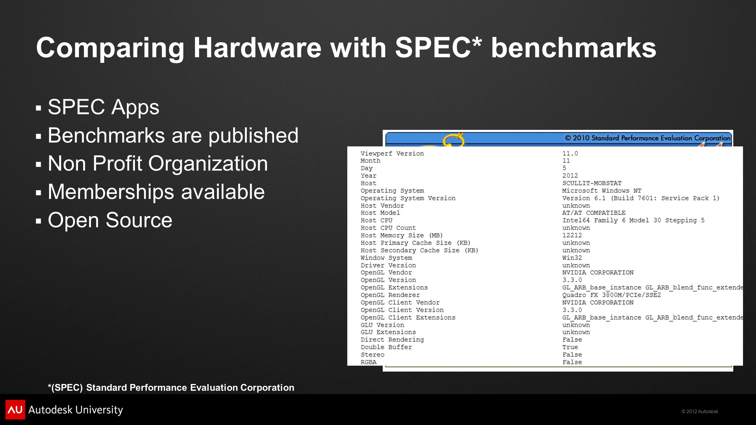 Comparing Hardware with SPEC* benchmarks