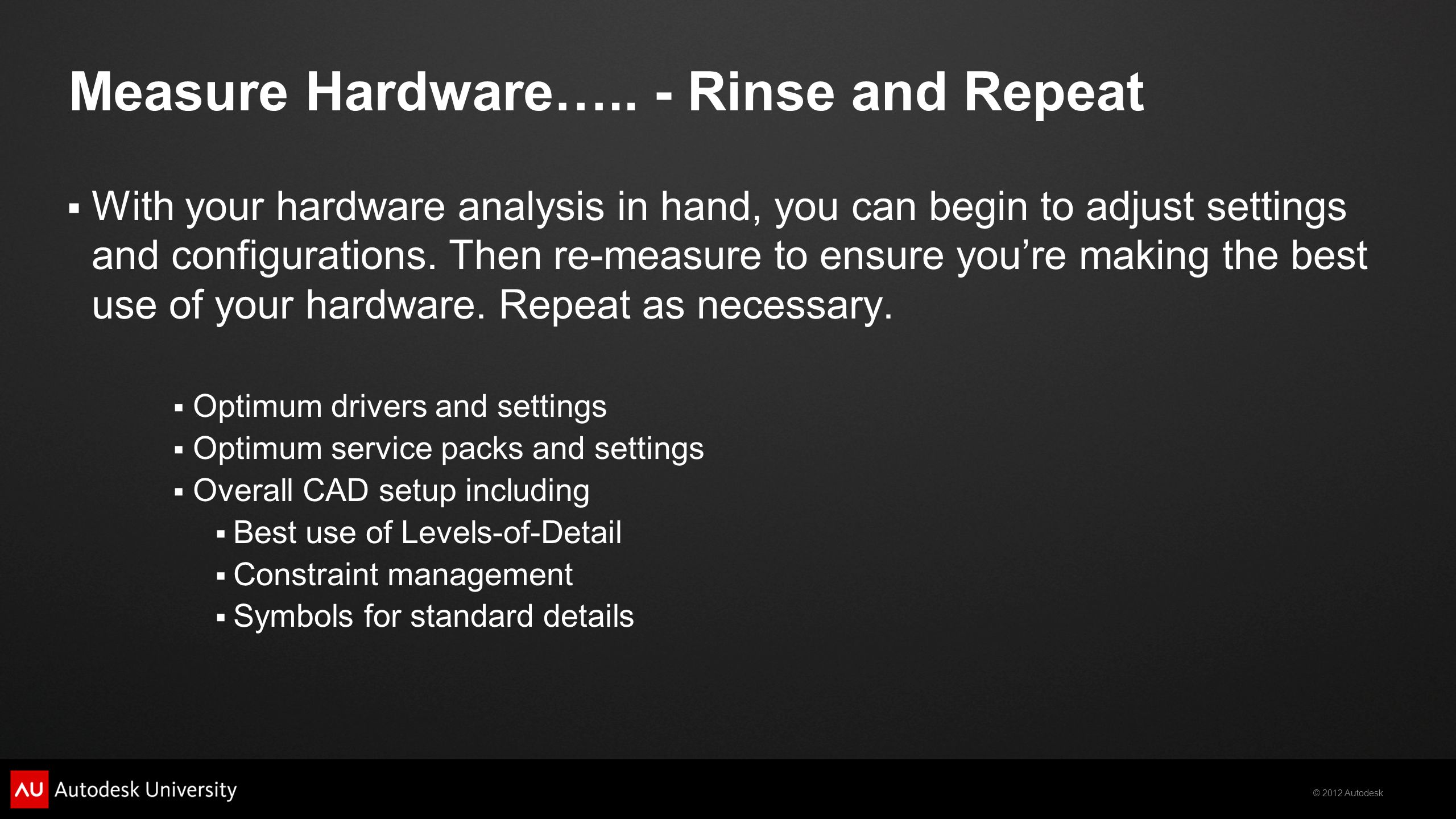 Measure Hardware….. - Rinse and Repeat