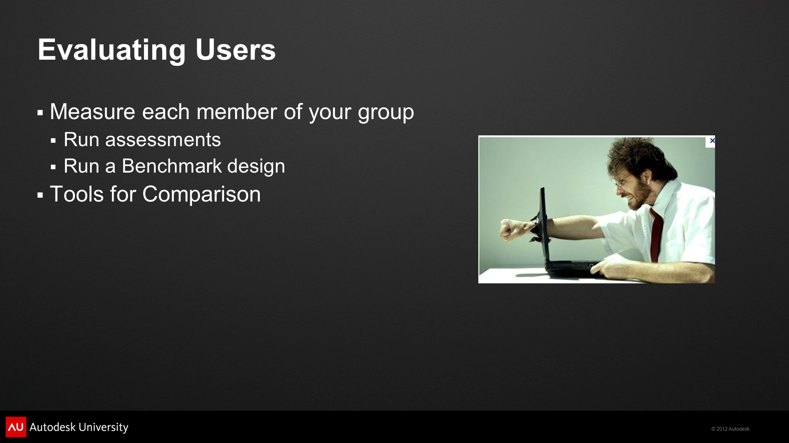 Evaluating Users Measure each member of your group