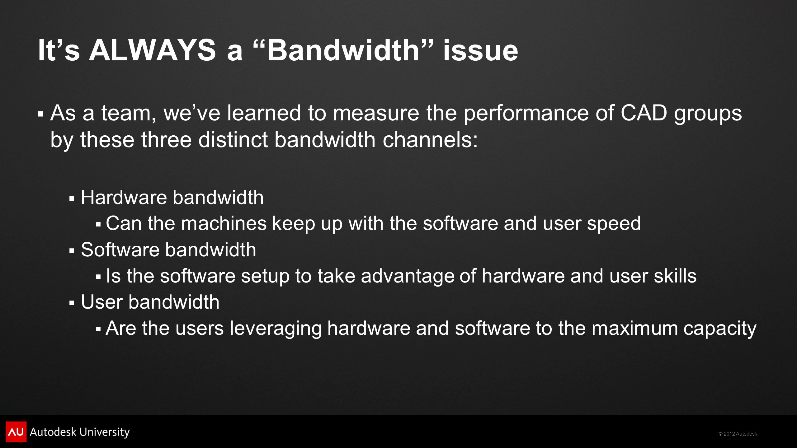 It's ALWAYS a Bandwidth issue