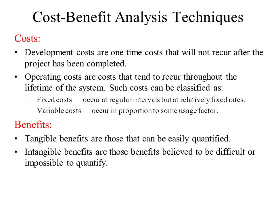 Cost-Benefit Analysis Techniques