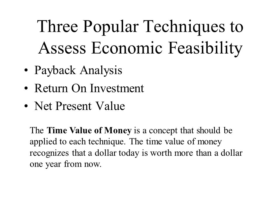 Three Popular Techniques to Assess Economic Feasibility