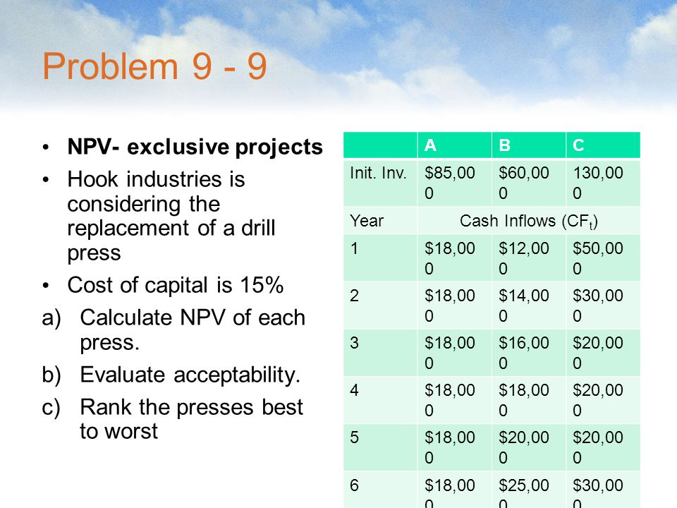 Problem 9 - 9 NPV- exclusive projects