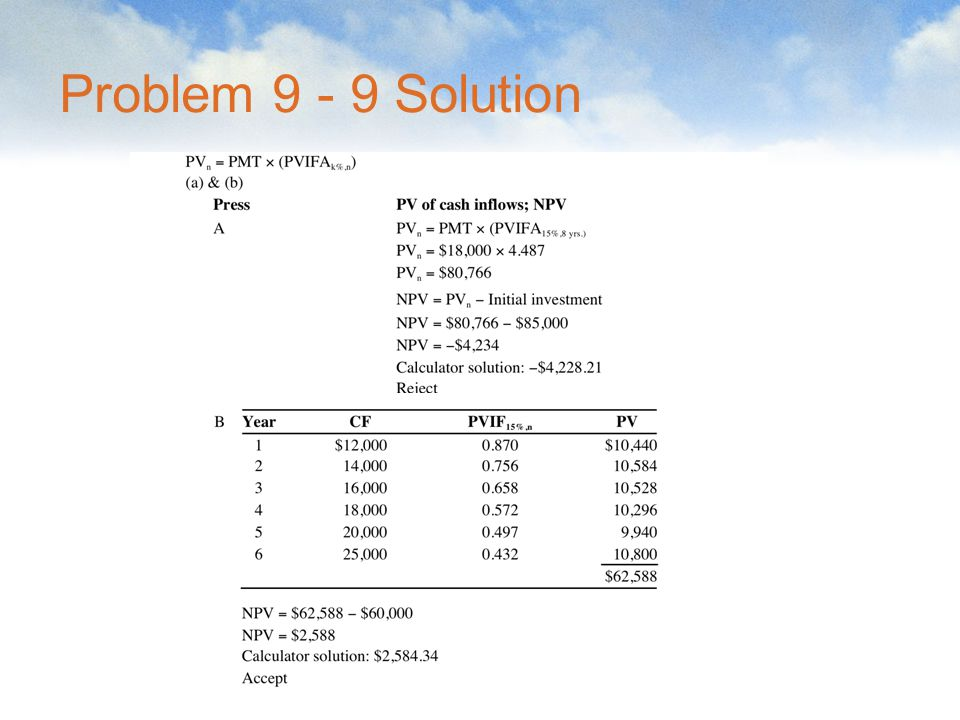 Problem 9 - 9 Solution