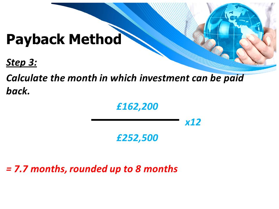 Payback Method Step 3: Calculate the month in which investment can be paid back.