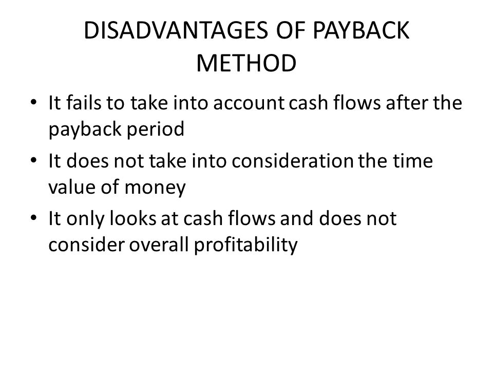 DISADVANTAGES OF PAYBACK METHOD