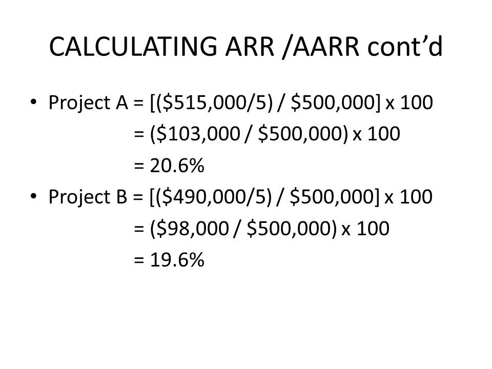 CALCULATING ARR /AARR cont'd