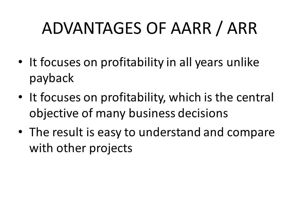 ADVANTAGES OF AARR / ARR