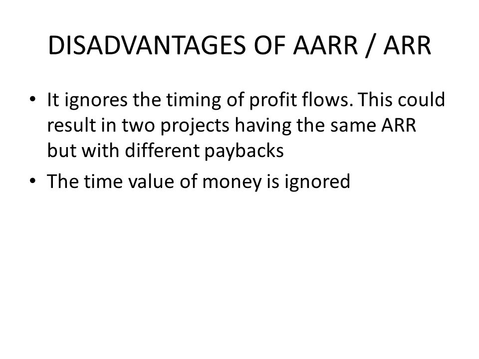 DISADVANTAGES OF AARR / ARR