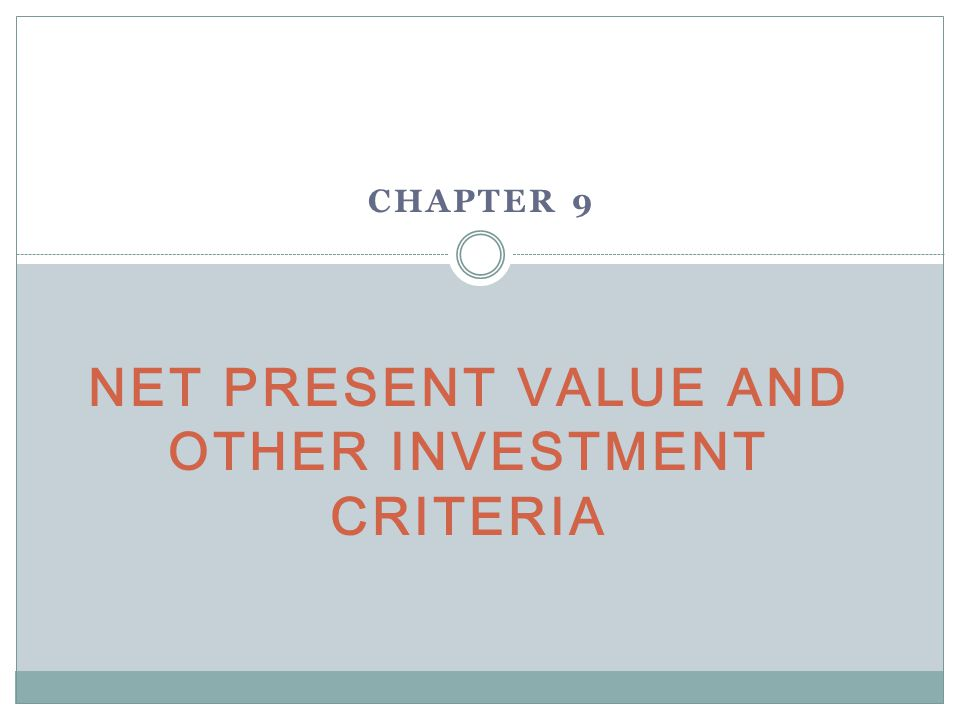 Investments net present value and investment
