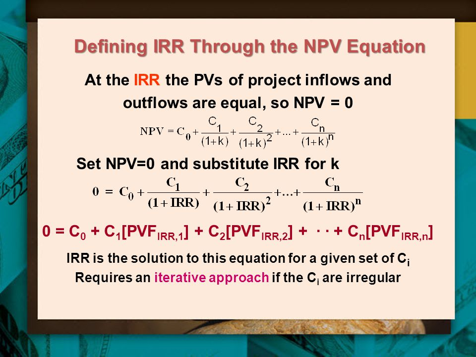 Defining IRR Through the NPV Equation