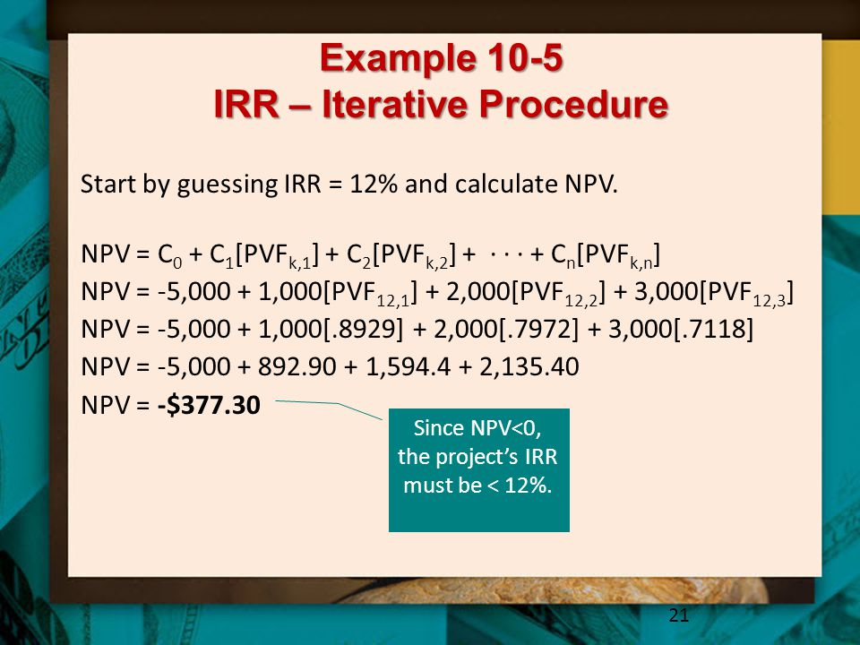 Example 10-5 IRR – Iterative Procedure
