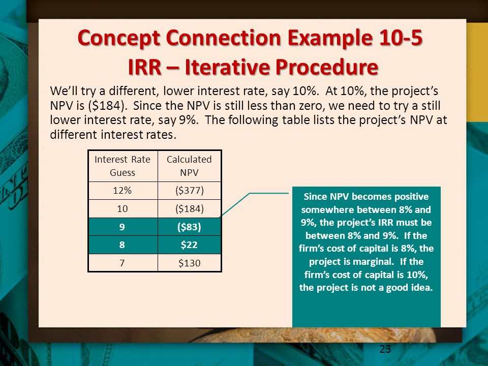 Concept Connection Example 10-5 IRR – Iterative Procedure