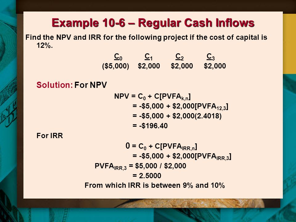 Example 10-6 – Regular Cash Inflows