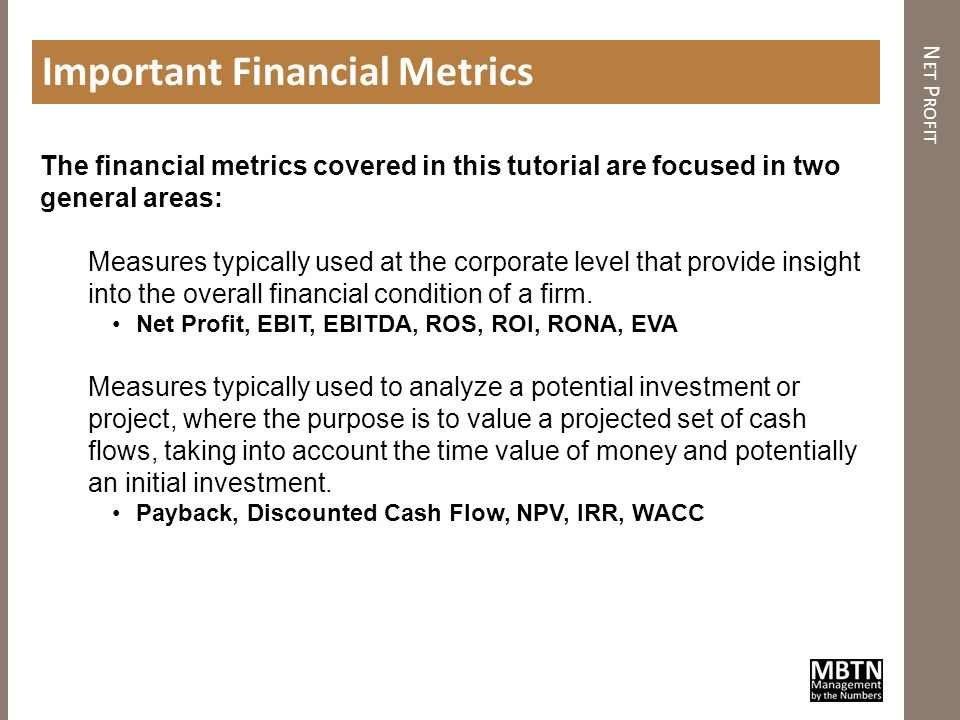 Important Financial Metrics