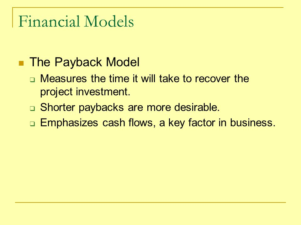 Financial Models The Payback Model