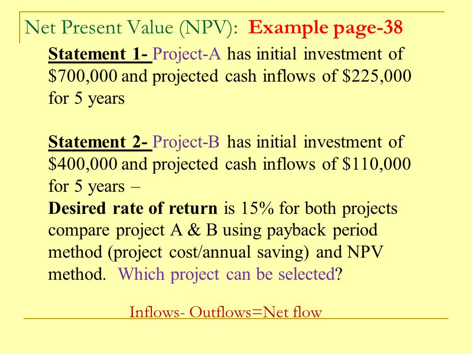 Net Present Value (NPV): Example page-38