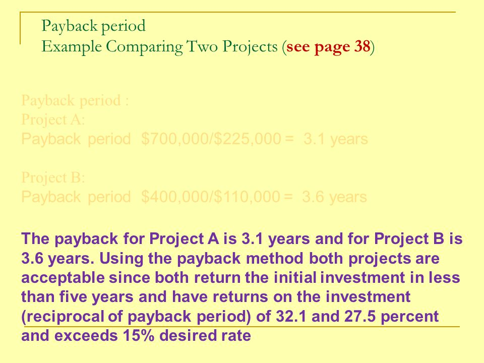 Payback period Example Comparing Two Projects (see page 38)