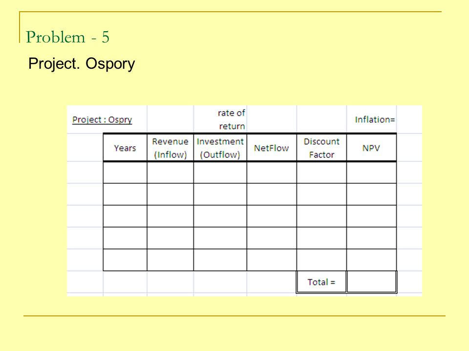 Problem - 5 Project. Ospory