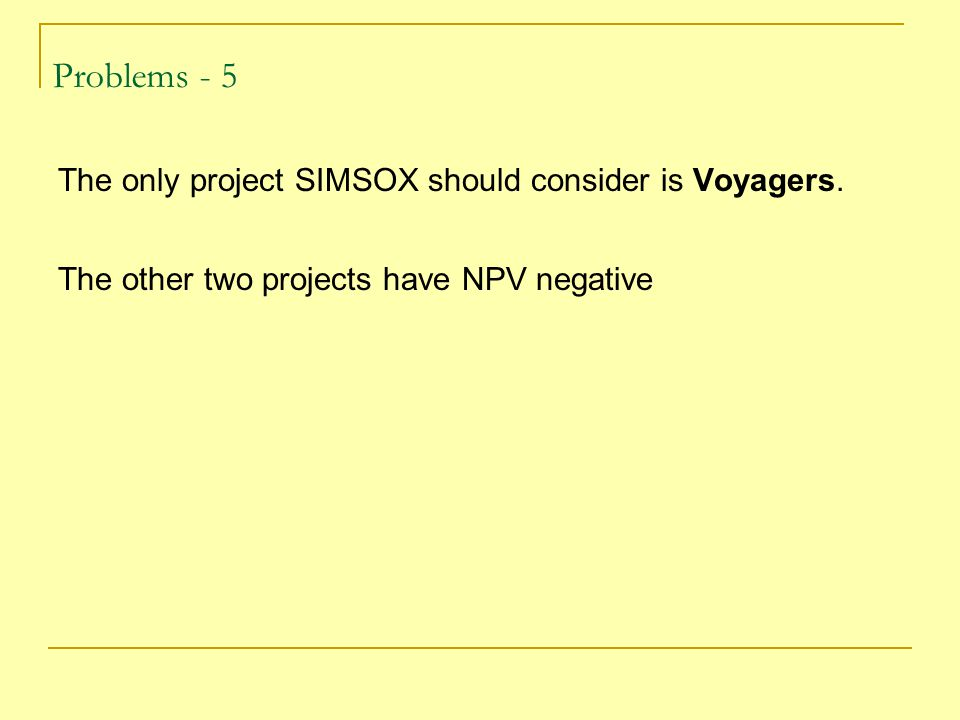 Problems - 5 The only project SIMSOX should consider is Voyagers.