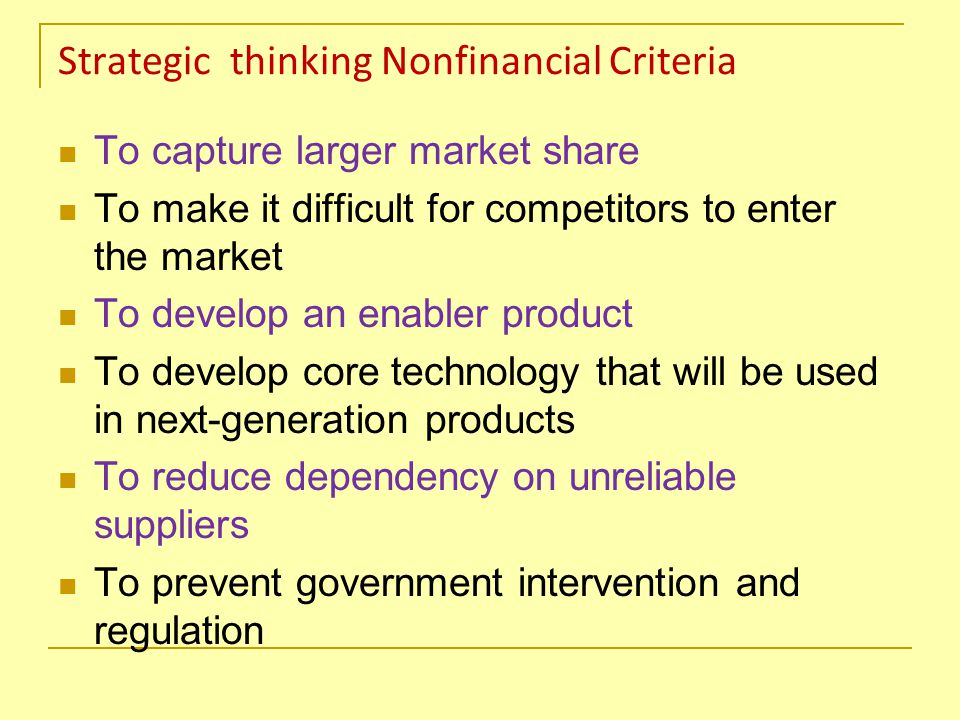 Strategic thinking Nonfinancial Criteria