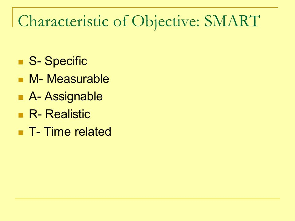 Characteristic of Objective: SMART