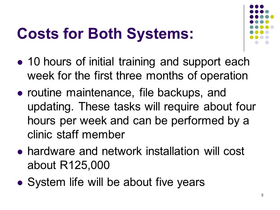 Costs for Both Systems: