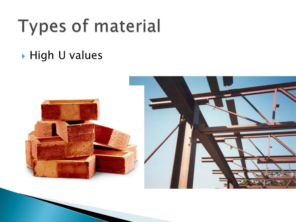 Types of material High U values