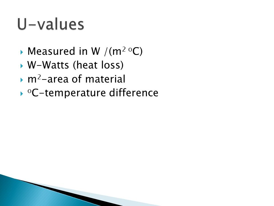 U-values Measured in W /(m2 oC) W-Watts (heat loss)