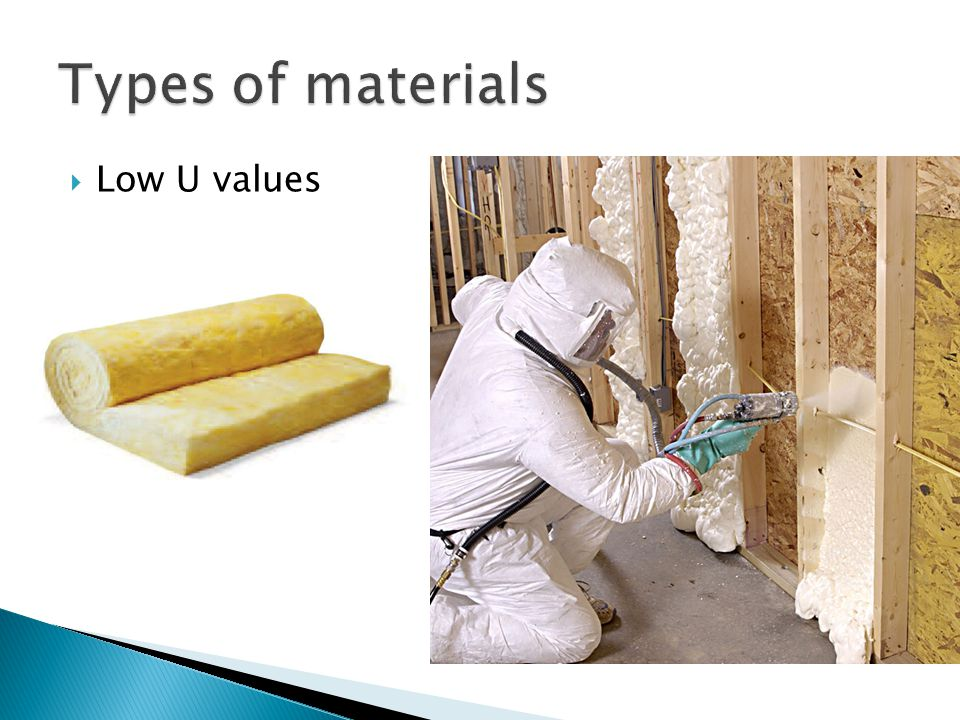 Types of materials Low U values