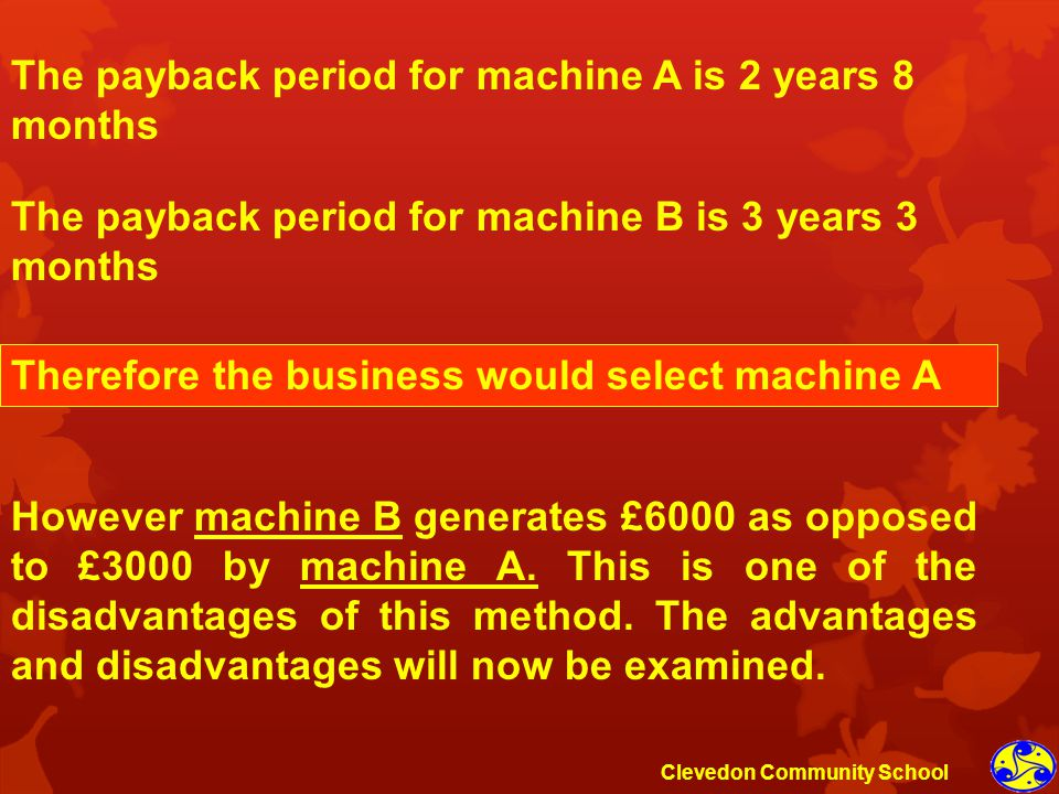 The payback period for machine A is 2 years 8 months