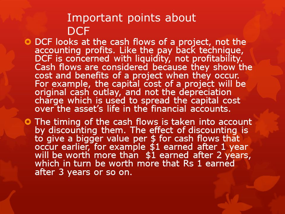 Important points about DCF