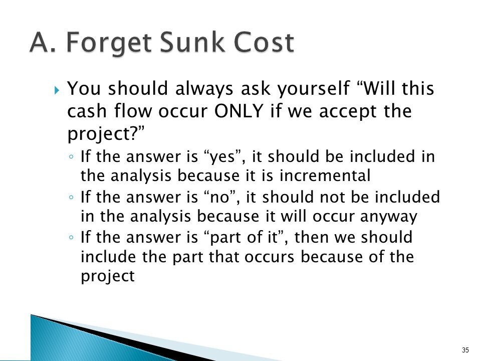 Example: Sunk Cost Your firm paid $100,000 last year for a marketing report for a new widget it is considering to develop.