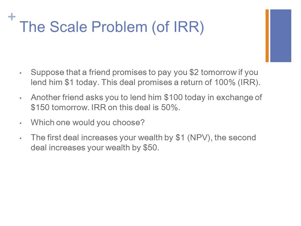 The Scale Problem (of IRR)