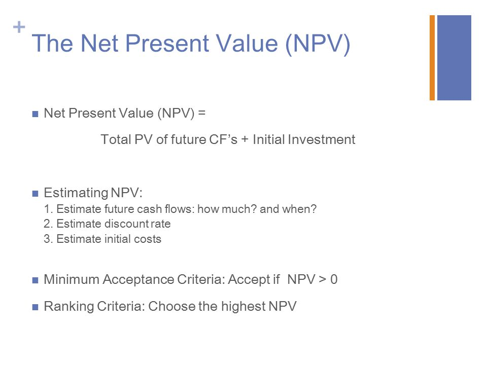 The Net Present Value (NPV)