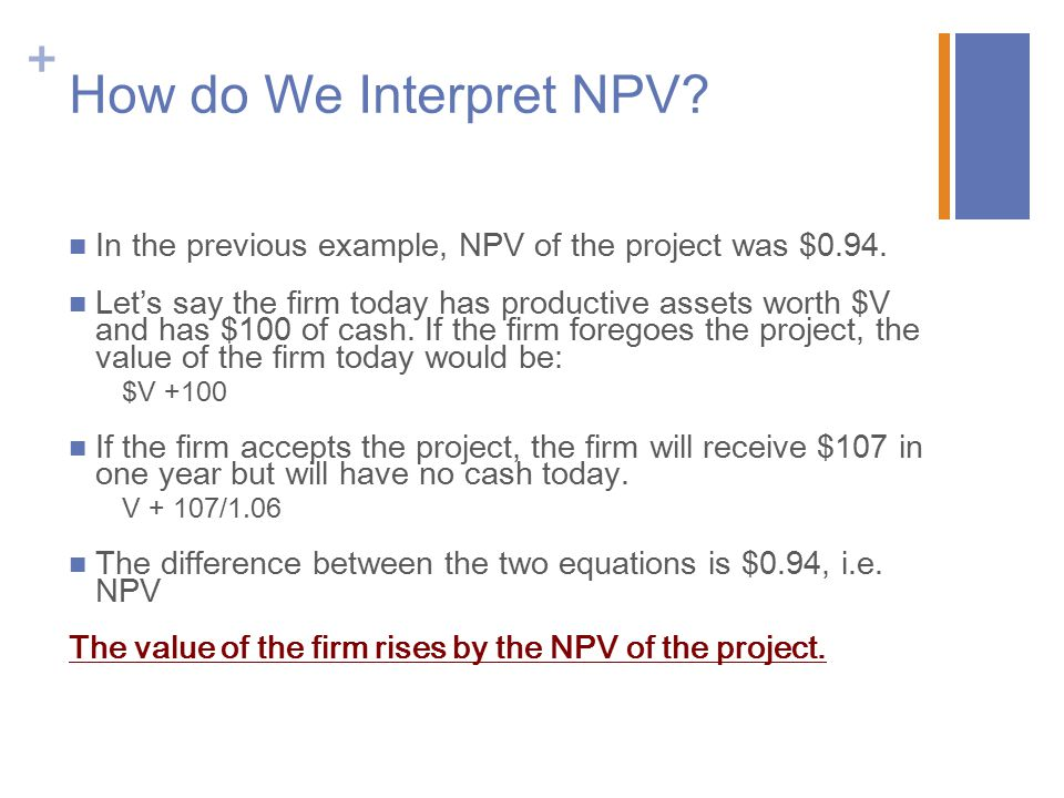 How do We Interpret NPV In the previous example, NPV of the project was $0.94.