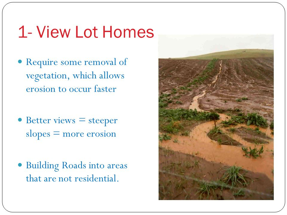 1- View Lot Homes Require some removal of vegetation, which allows erosion to occur faster. Better views = steeper slopes = more erosion.