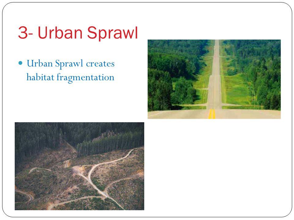 3- Urban Sprawl Urban Sprawl creates habitat fragmentation