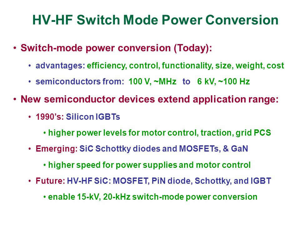 HV-HF Switch Mode Power Conversion